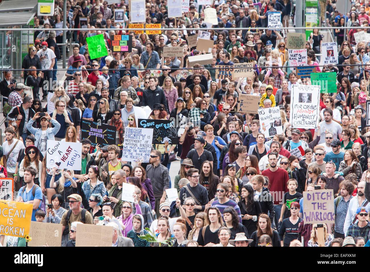 MELBOURNE, Australien - März 16: März im März protestieren für die Macht des Volkes, ein Misstrauensvotum Stockbild