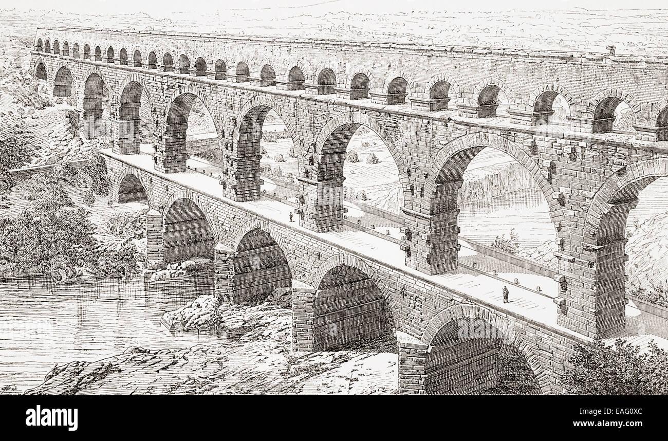 Der Pont du Gard, Vers-Pont-du-Gard, in der Nähe von Remoulins, Frankreich. Stockbild