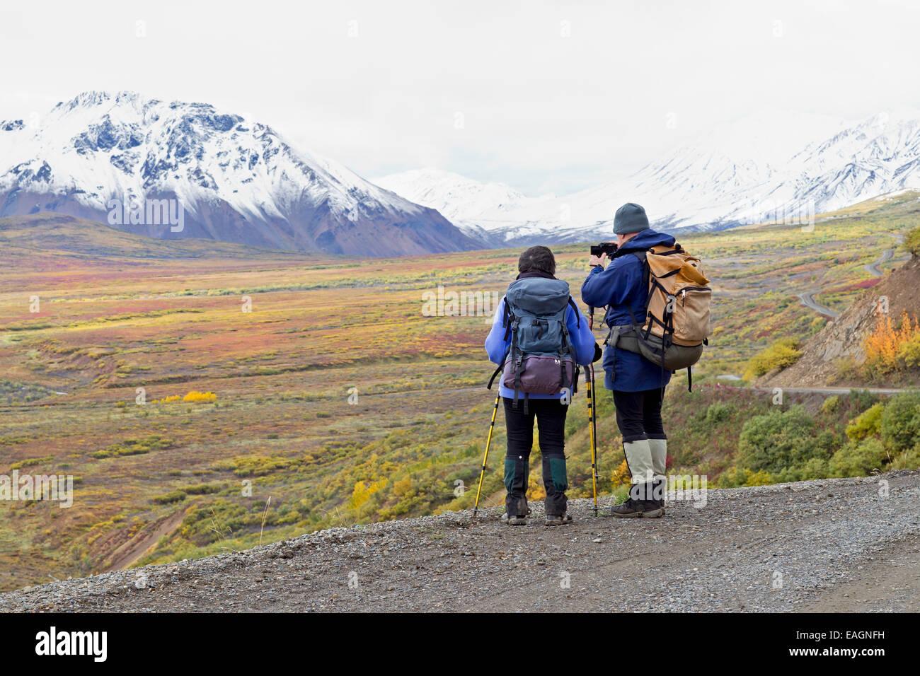 Touristen machen Sie eine Pause vom Wandern In den nehmen Sie ein Foto von Herbstfarben im Denali National Park, Stockfoto