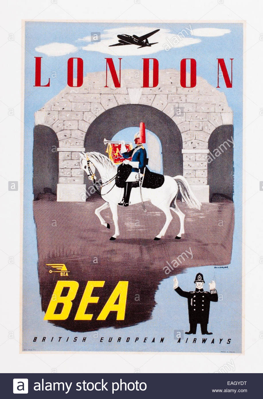 Oldtimer Reise Plakatwerbung London BEA British European Airways. Datum der Erstellung des 1950. Editorial nur Stockbild