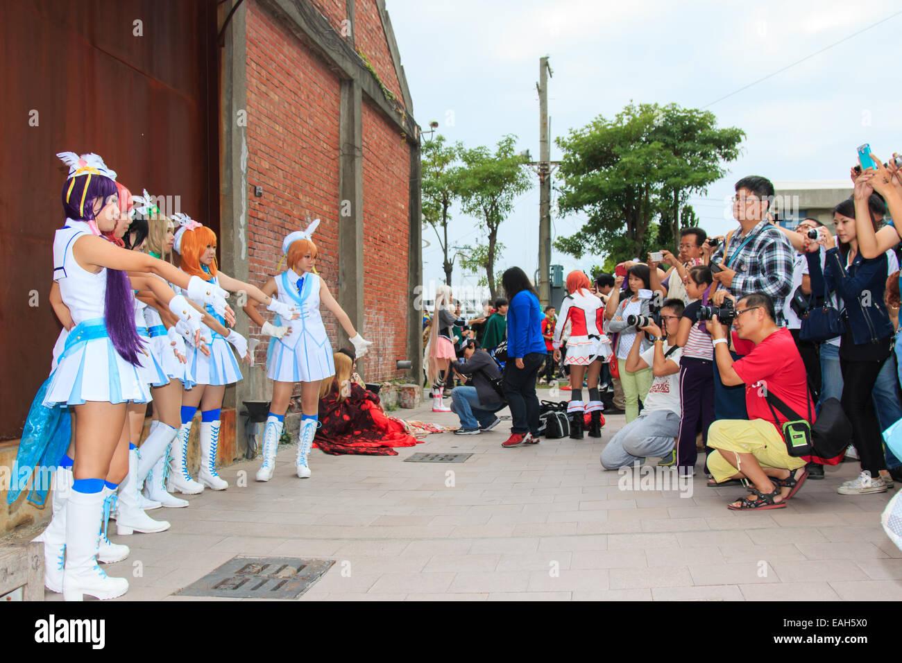Cosplayer und Fotografen beim Pier 2 Kunstzentrum Anime Festival, Kaohsiung Stockbild