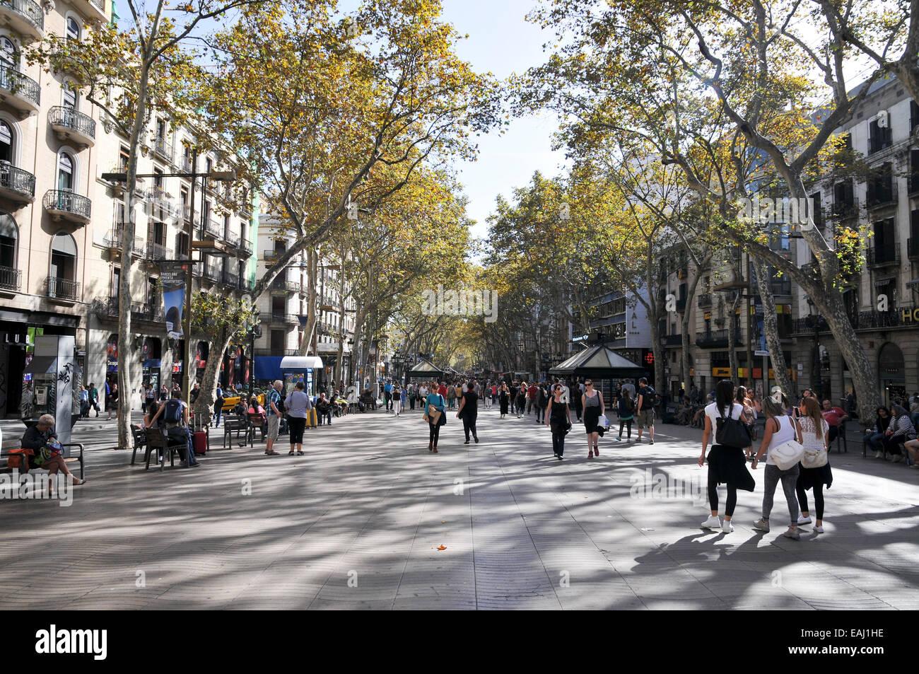 La Rambla (Las Ramblas), Barcelona, Spanien Stockbild