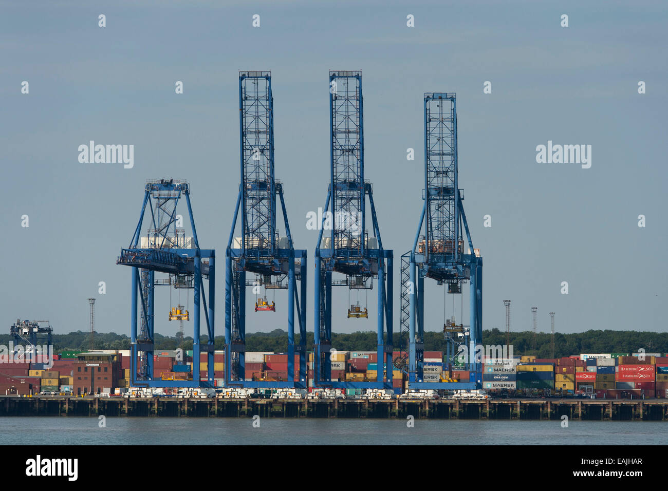 See-Container am Hafen Felixstowe in England, UK. Stockfoto
