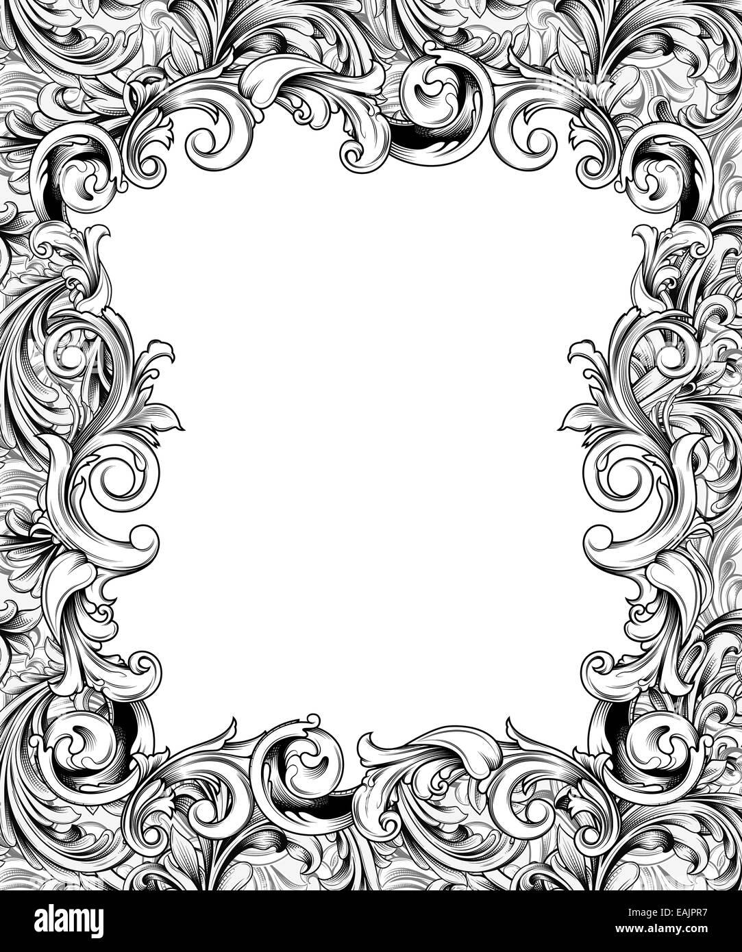 Federzeichnung eines reich verzierten Rahmen oder Rand des barocken ...