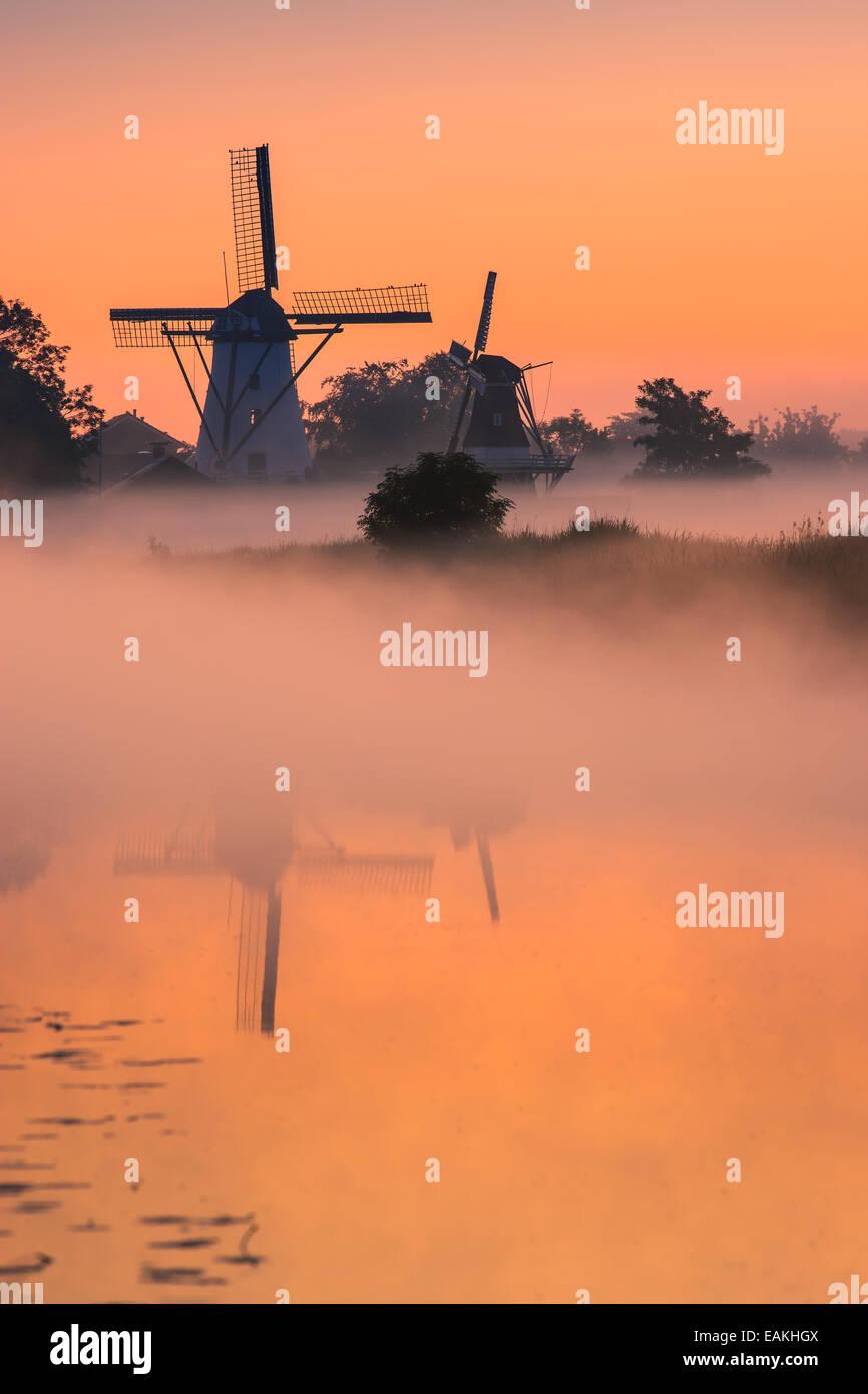 Morning Glory in dem kleinen Dorf Ten Boer in der Provinz Groningen im nördlichen Teil der Niederlande Stockbild