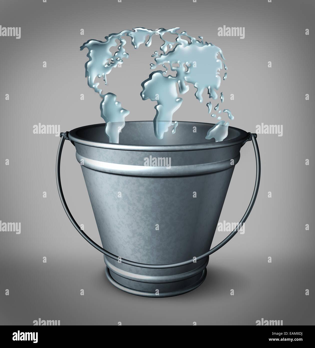Globale Wasserkonzept als eine Gruppe von Spritzen Wassertropfen in einem Blecheimer als Weltkarte als Symbol für Stockbild