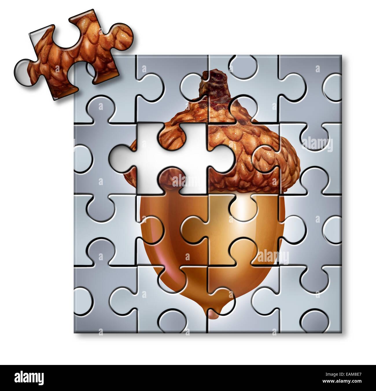 Investieren Puzzle-Konzept als eine Eichel mit ein fehlendes Stück als finanzielle Metapher für Spar- und Steuer Stockfoto