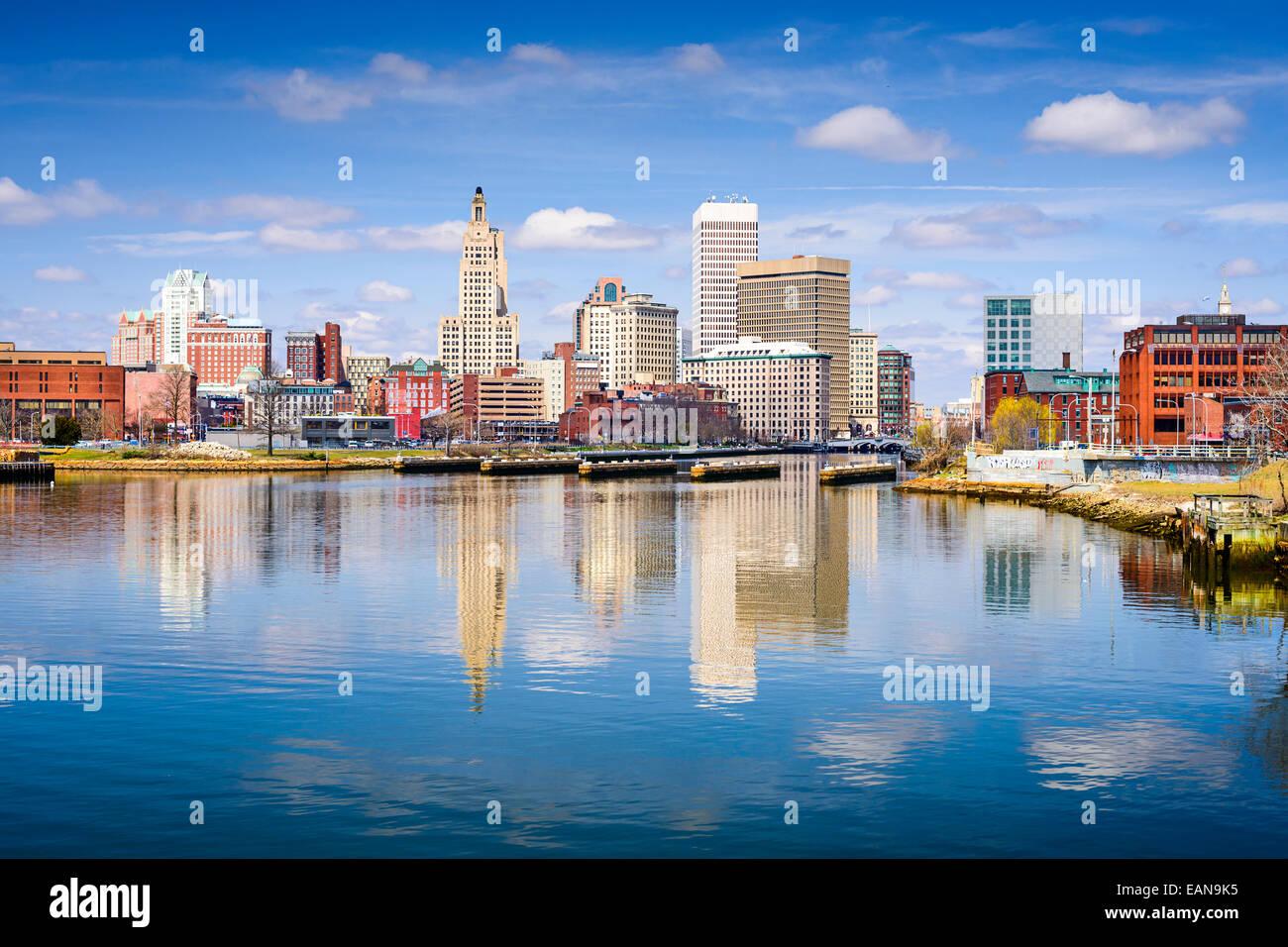 Providence, Rhode Island Skyline der Stadt am Fluss. Stockbild