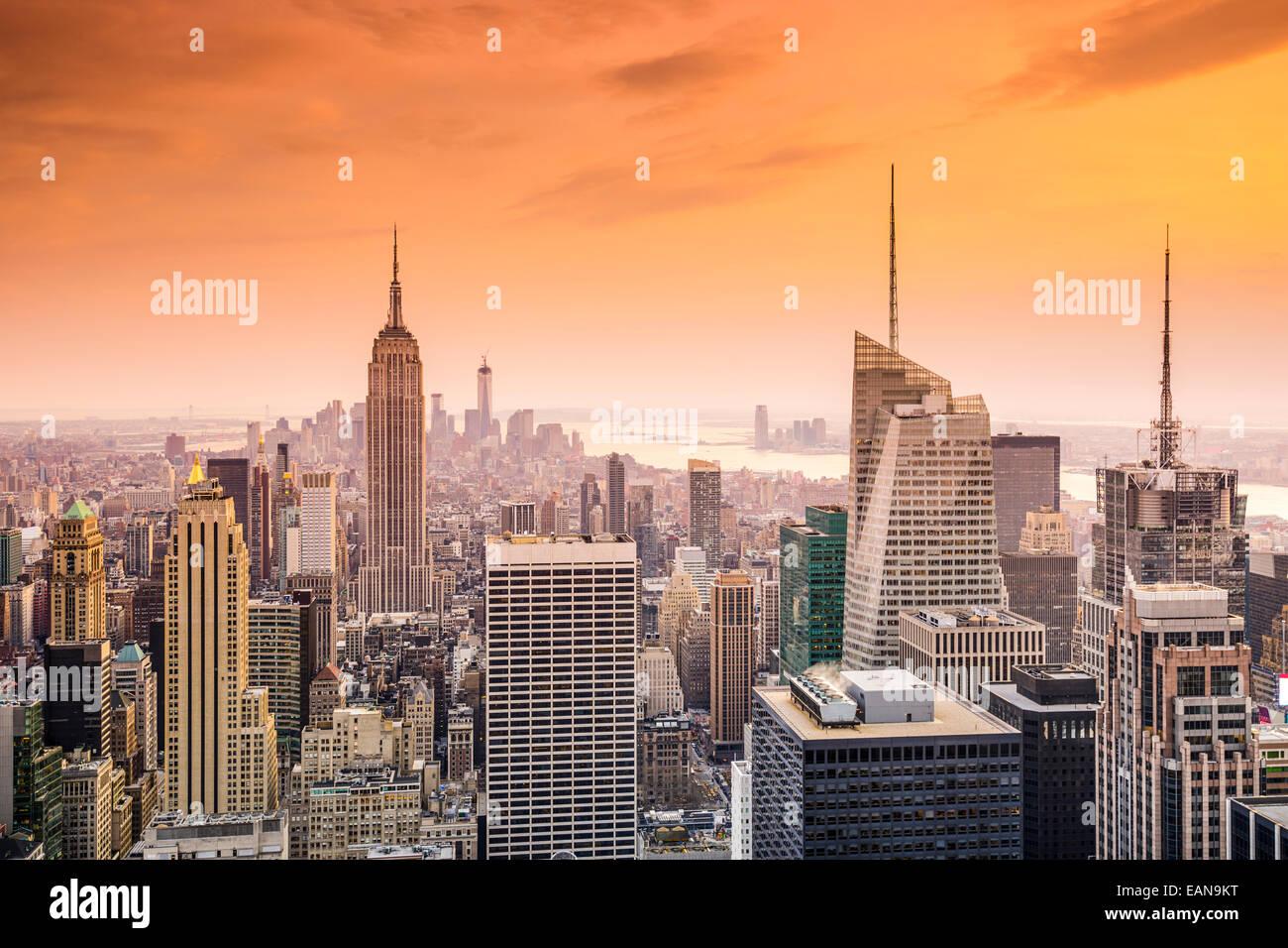 Skyline von New York City, Vereinigte Staaten von Midtown Manhattan. Stockbild