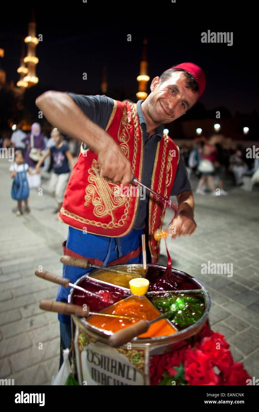 Straßenhändler, Verkauf von Süßigkeiten, istanbul Stockbild