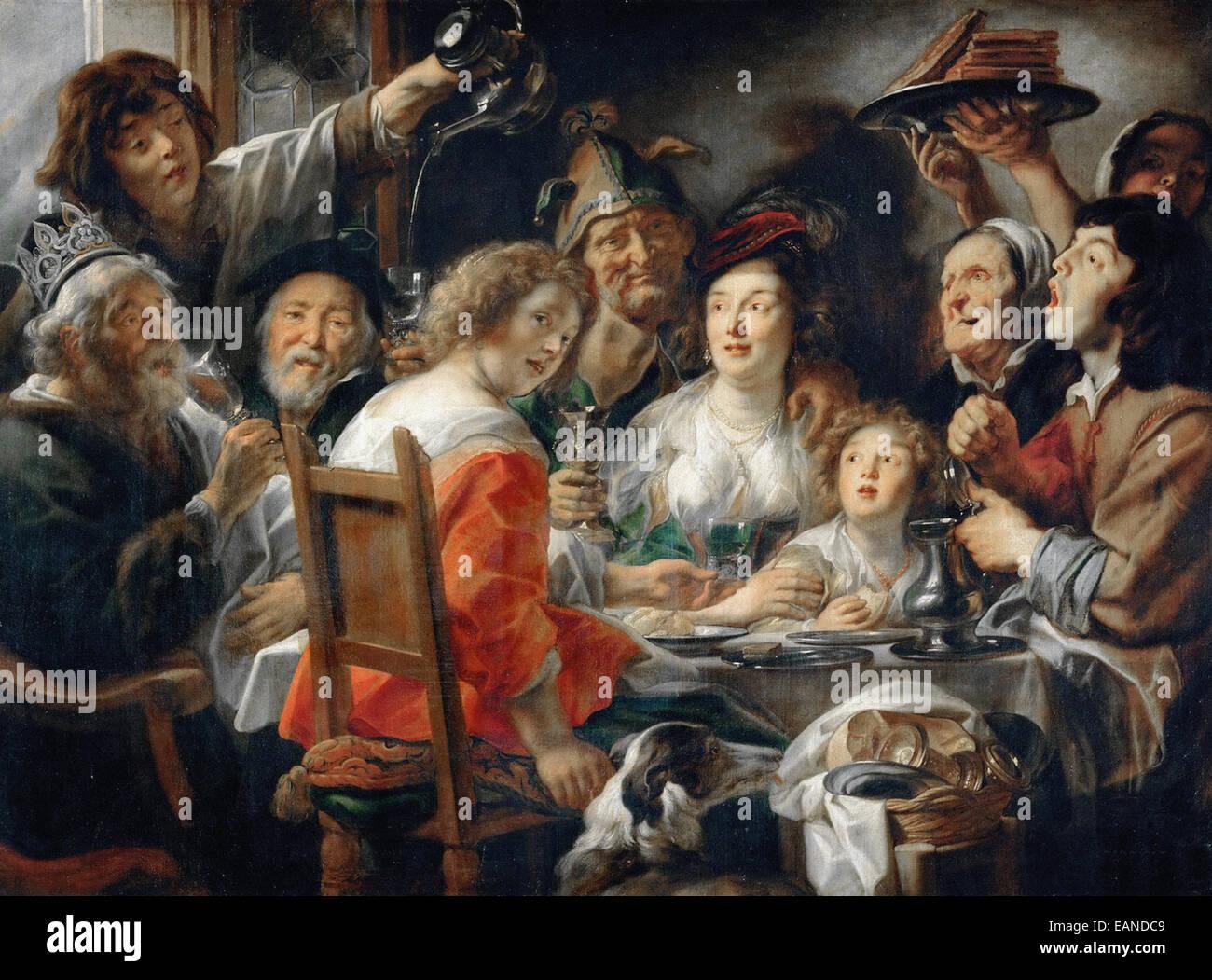 Jacob Jordaens König Getränke oder Familienessen auf das Fest der ...