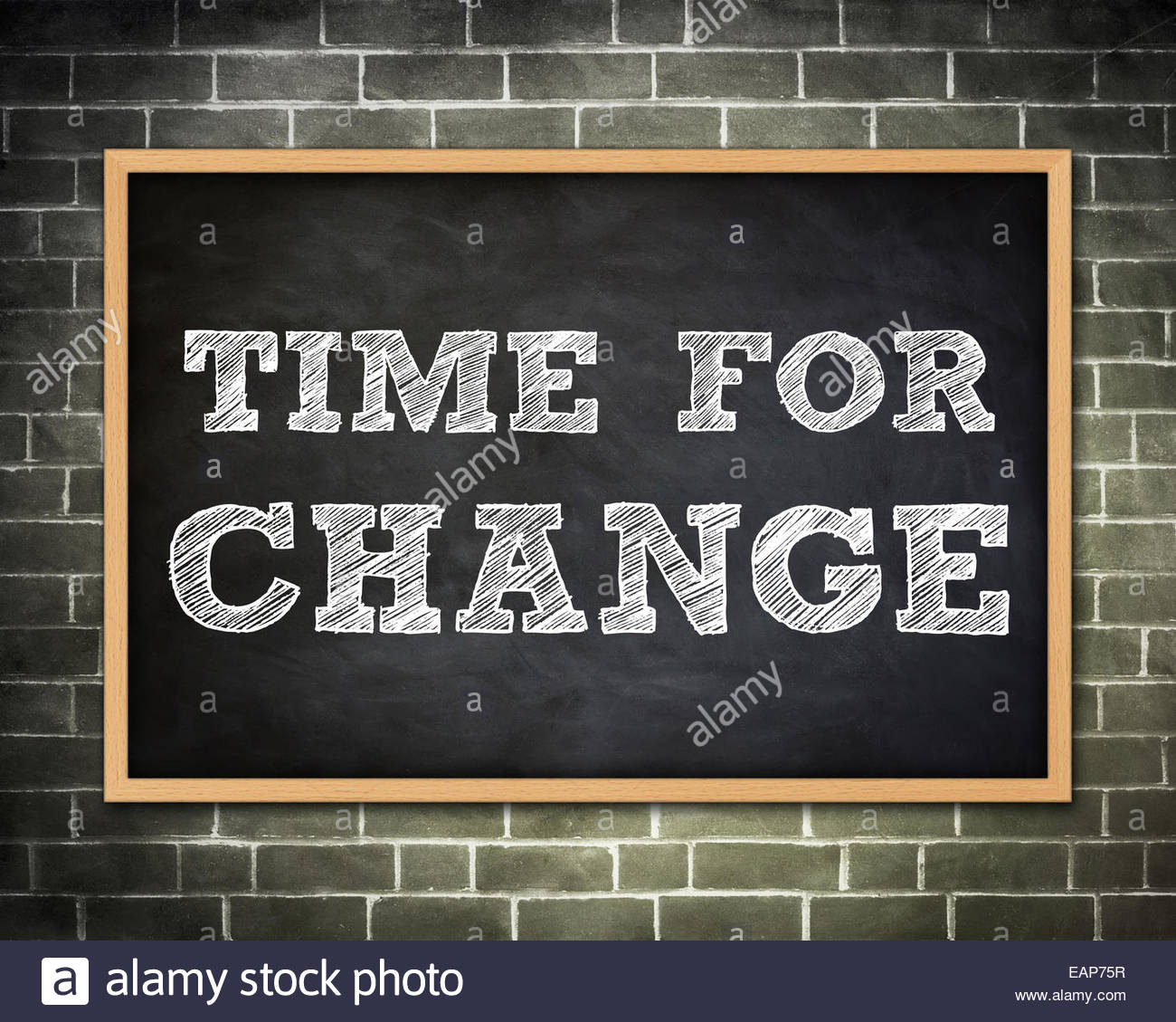 TIME FOR CHANGE - Tafel-Konzept Stockbild