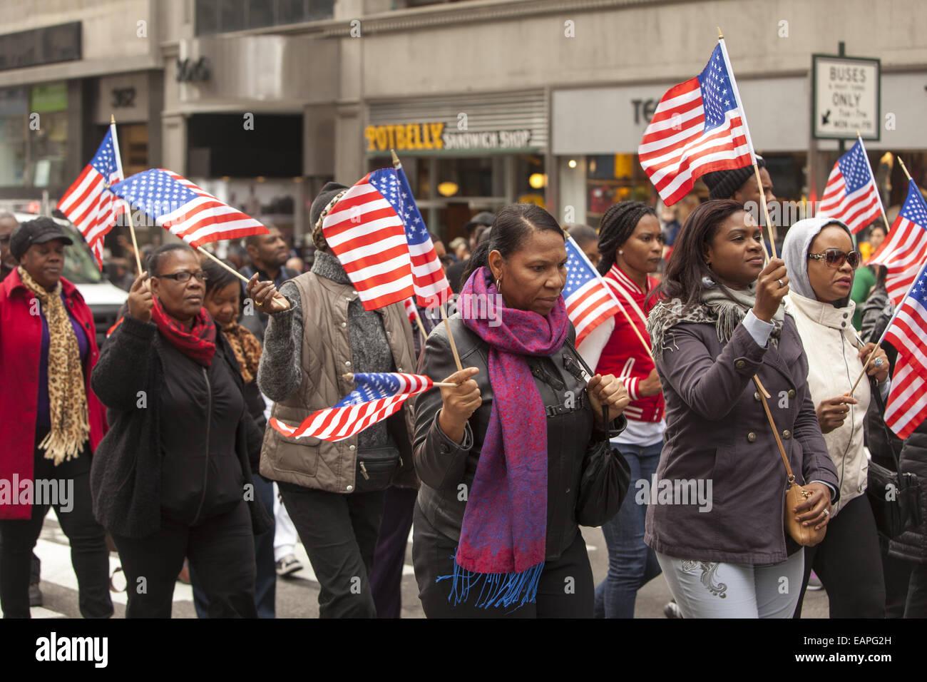 Veterans Day Parade, 5th Ave., New York City. Stockbild