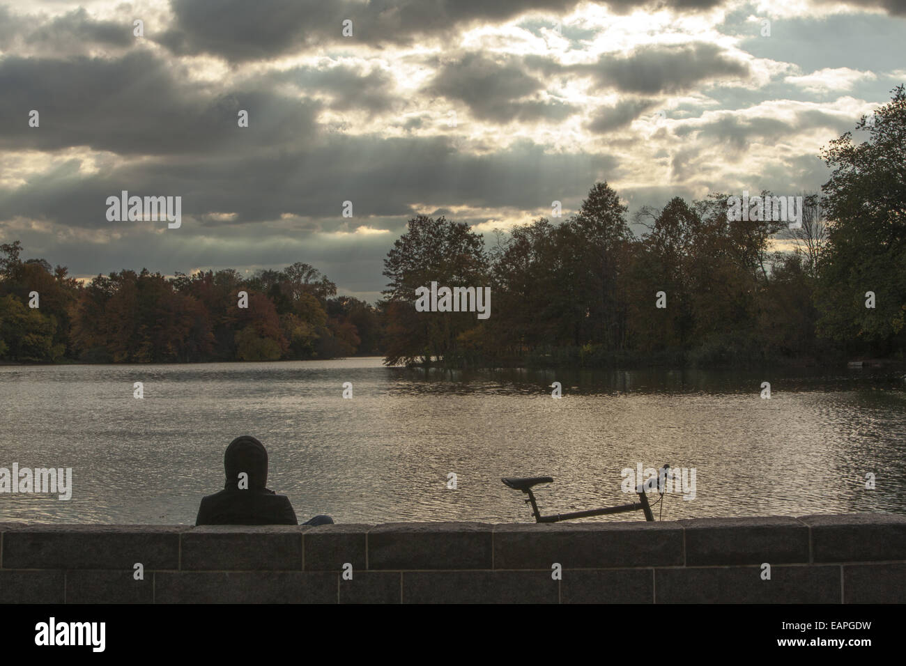 Herbsttag entlang des Sees im Prospect Park in Brooklyn, New York Stockfoto