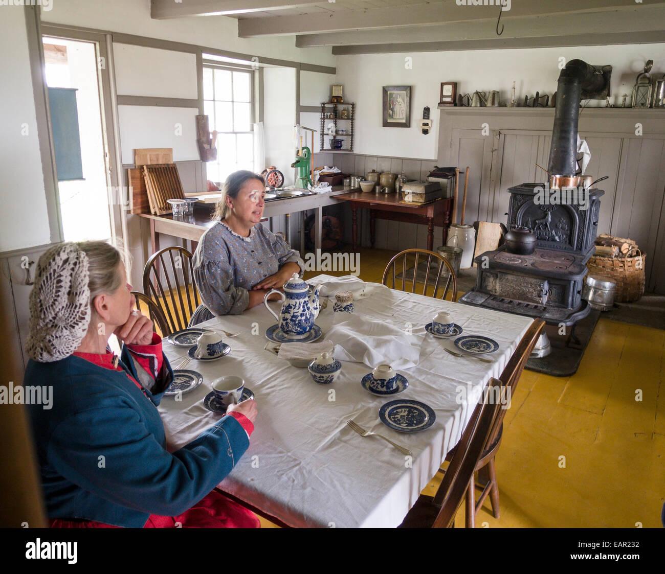 Trinken Tee in der Küche. Zwei Frauen trinken Tee am Küchentisch ...