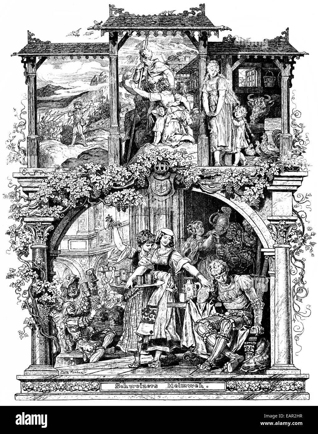 Romantische Darstellung des Liedes Schweizer Heimweh, aus dem Buch Deutsches Liederlexikon von A. Haertel, 1865, Stockbild