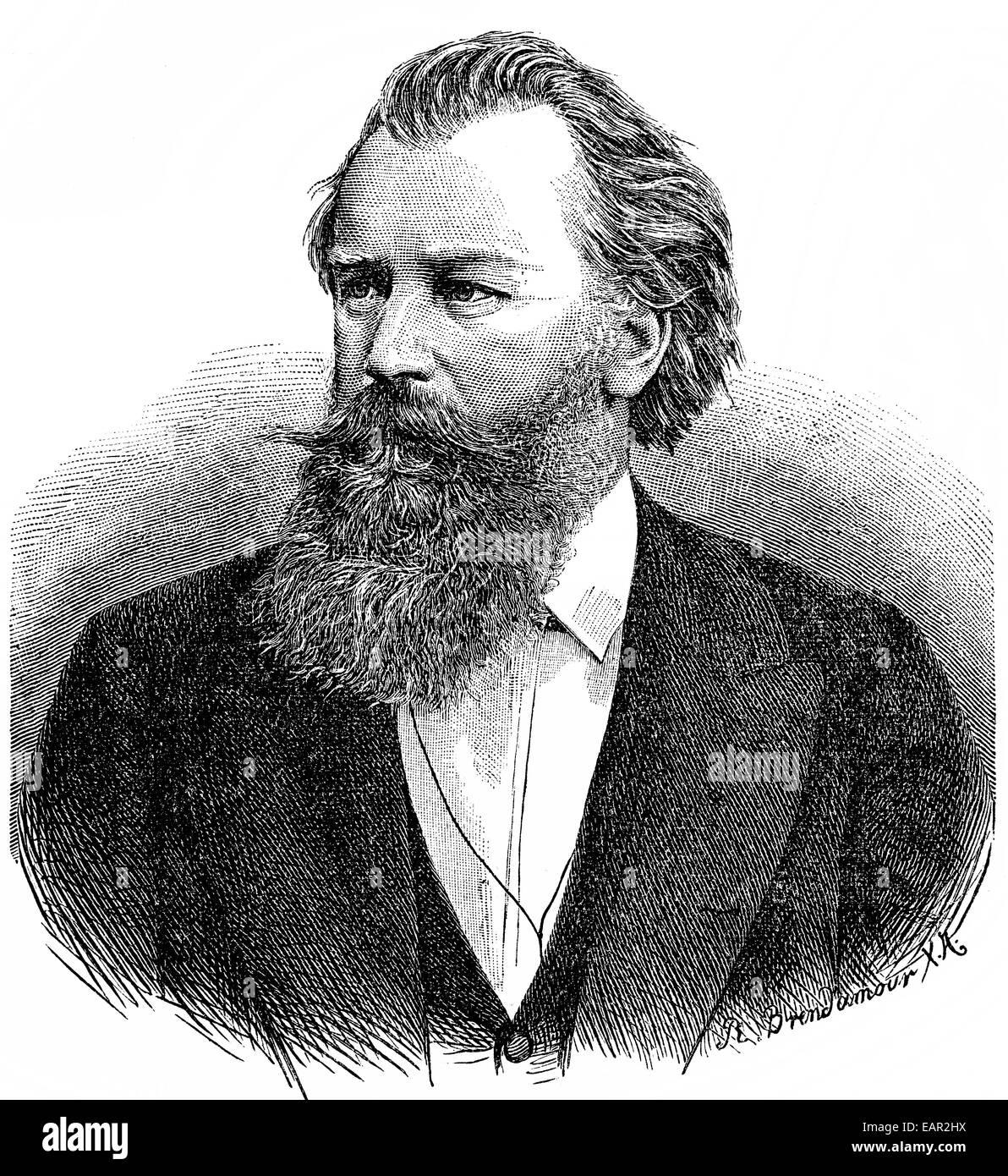 Johannes Brahms 1833-1897, deutscher Komponist, Pianist und Dirigent der Romantik, Historische Zeichnung, Porträt Stockbild