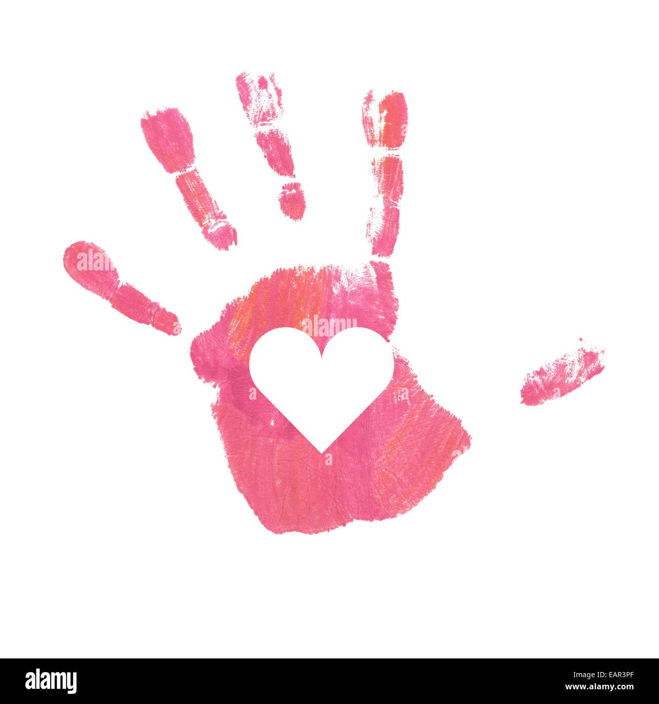 Nahaufnahme Von Rosa Handabdruck Kind 4 Jahre Isoliert Stockfoto