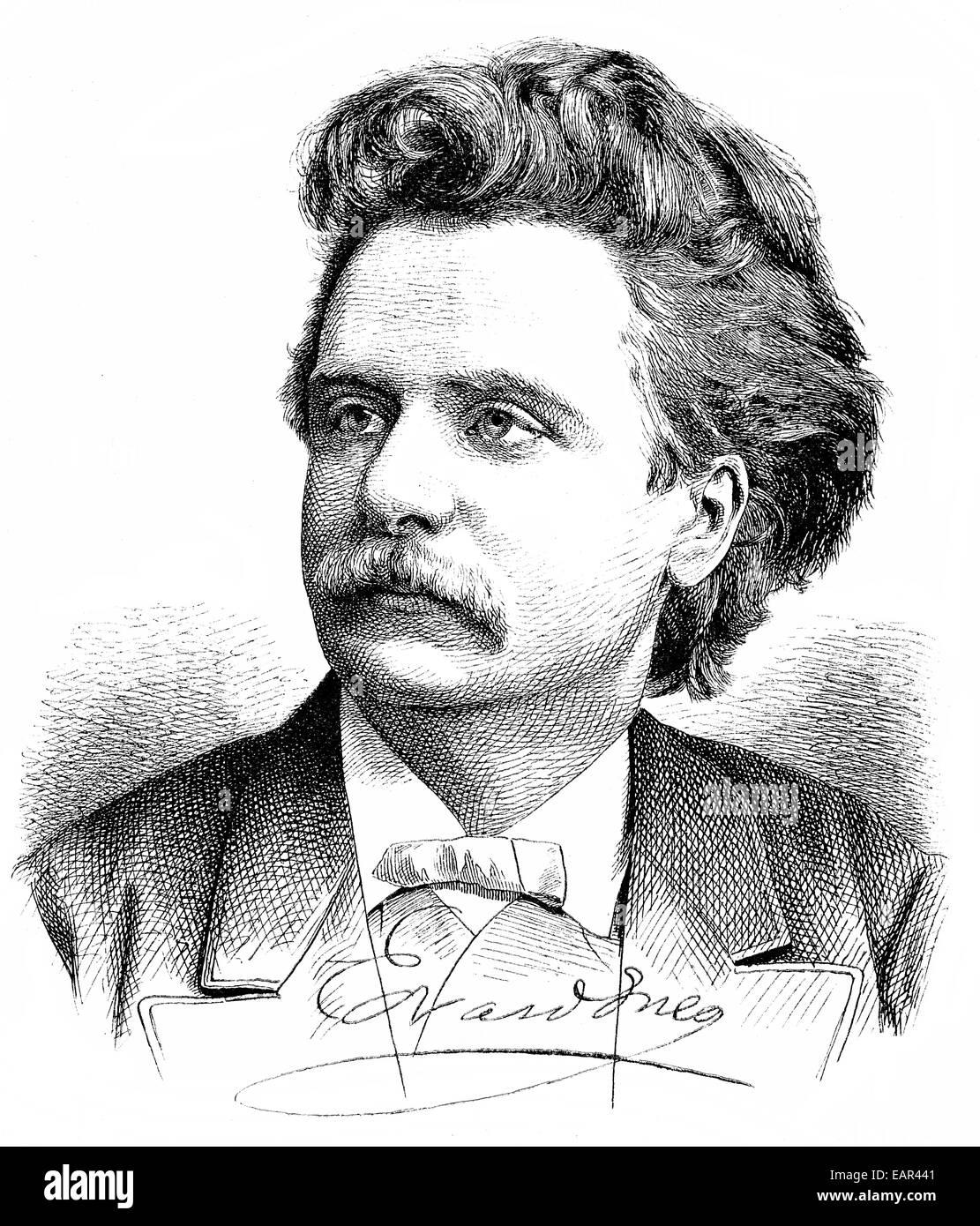 Edvard Hagerup Grieg, 1843-1907, norwegische Pianist und Komponist der Romantik, Porträt von Edvard Hagerup Stockbild
