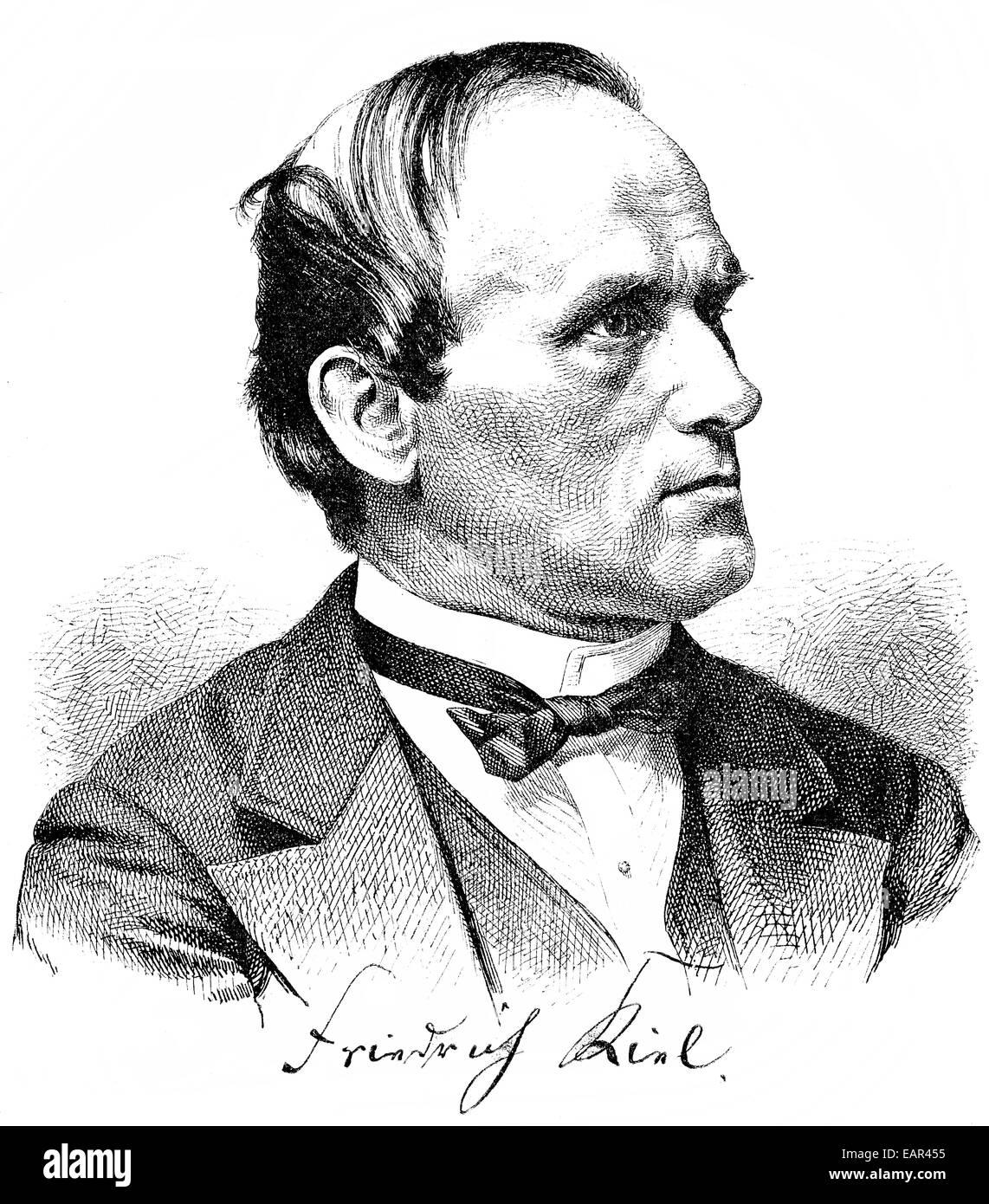 Friedrich Kiel 1821-1885, deutscher Komponist der Romantik und Musik Erzieher, Porträt von Friedrich Kiel 1821 Stockbild