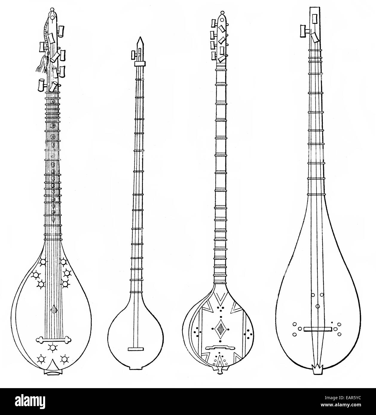 verschiedene Formen der Tambur oder Tambur, antike orientalische laute, Gegenspieler Formen der Tambur Oder Tambur, Stockbild