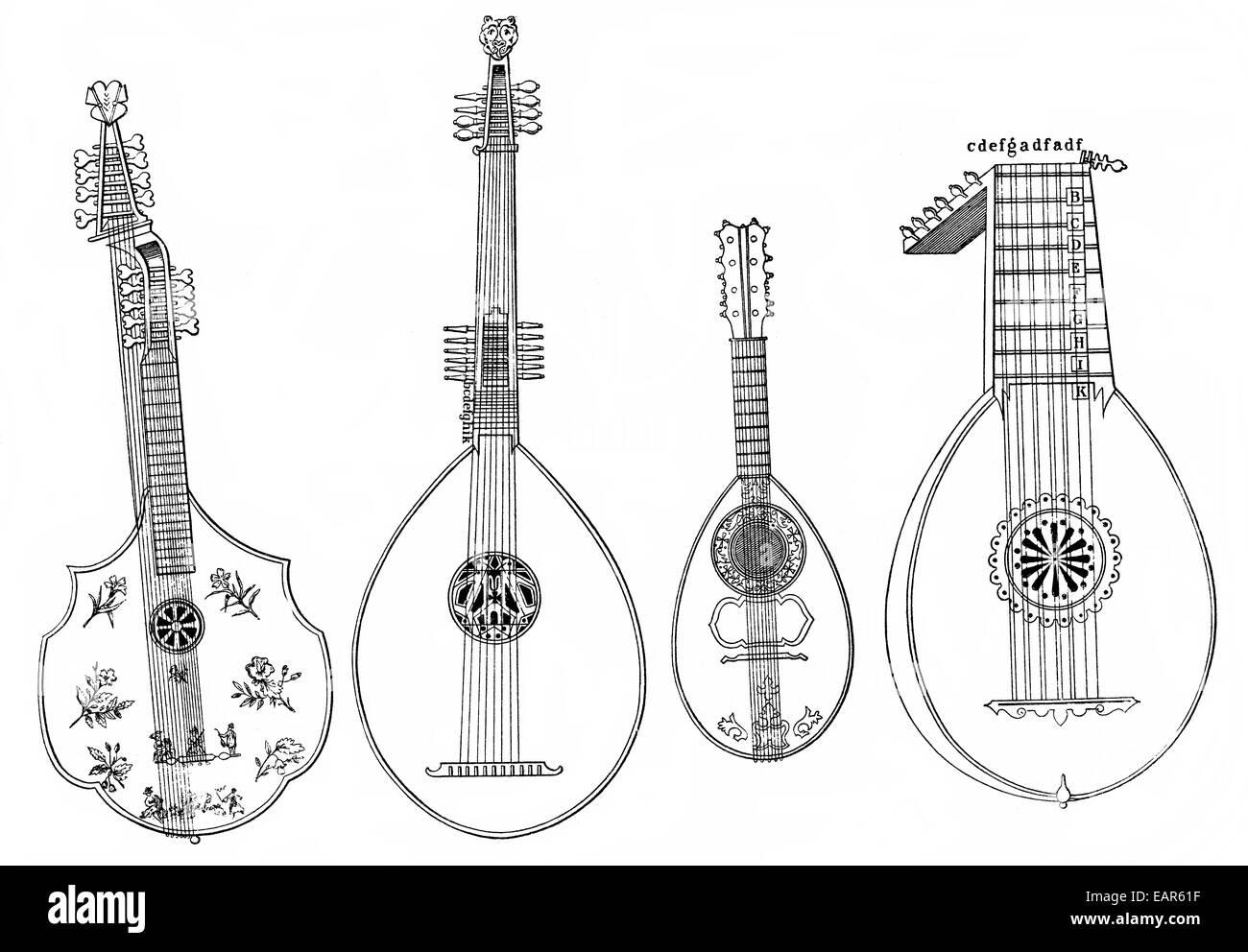 verschiedene Formen der Laute, Mandoline und Theorbe, alte Streichinstrumente Gegenspieler Formen der Laute, Mandoline Stockbild