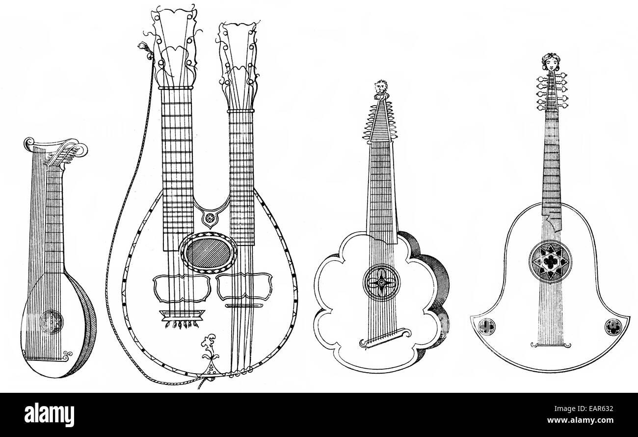 verschiedene Musikinstrumente, Vorläufer der Gitarre, Githerra oder Ghiterna, laute, Gegenspieler Musikinstrumente, Stockbild