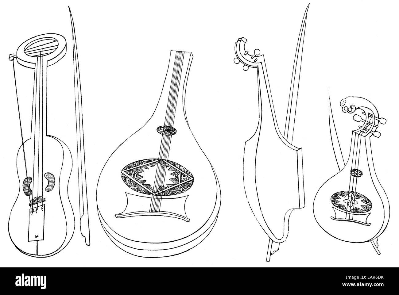 verschiedene Musikinstrumente, Lira, laute und Geige, 15. Jahrhundert, Gegenspieler Musikinstrumente, Vorläufer Stockbild