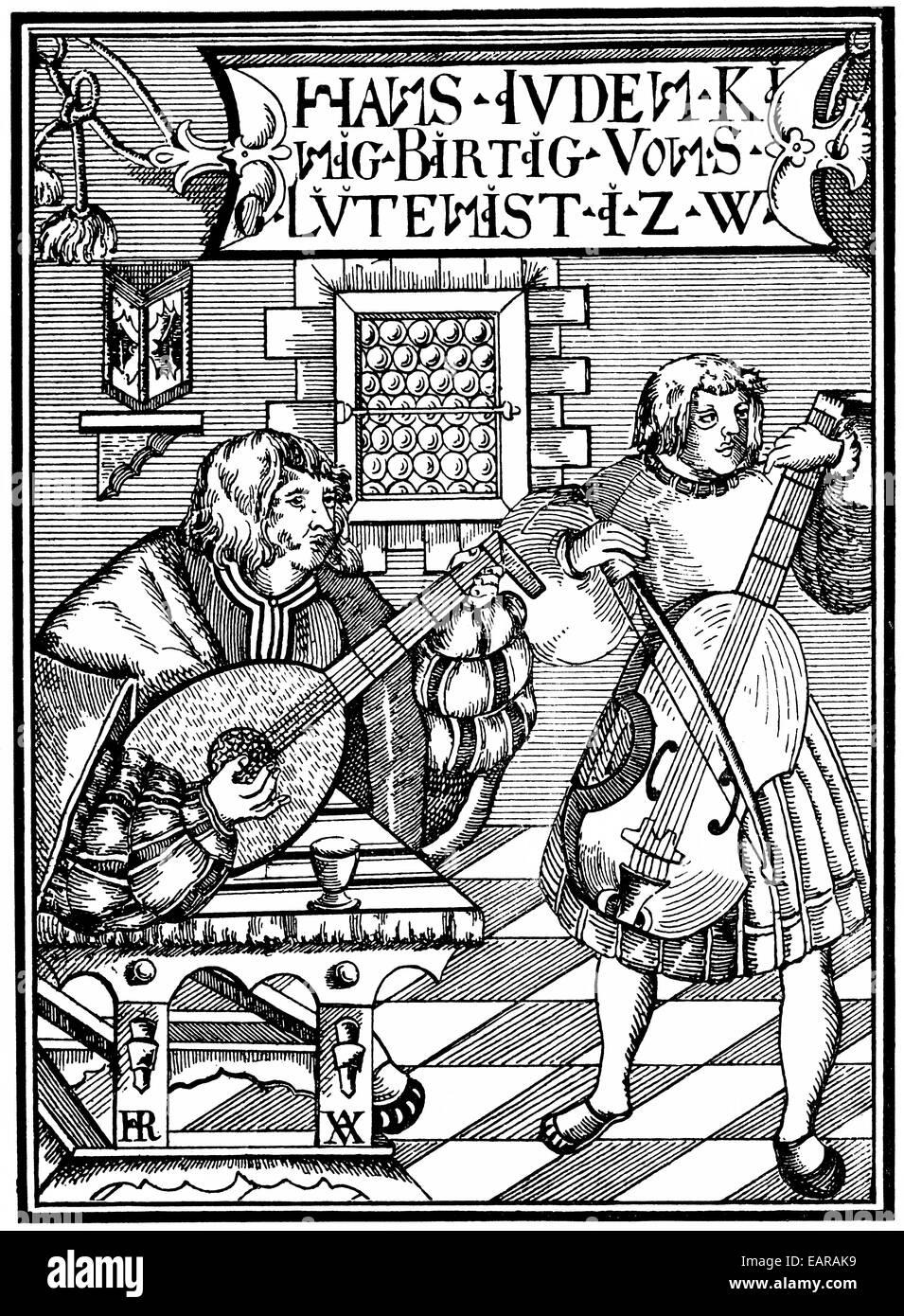 Faksimile des Deckblatts einer Laute Schule mit alten Musikinstrumenten, von 1523, Titelseite Einer Lautenschule Stockbild