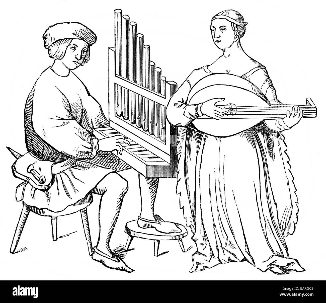 Musiker spielen ein kleines Organ oder tragbaren Orgel und eine 5-saitige laute, 15. und 16. Jahrhundert, Musiker Stockbild