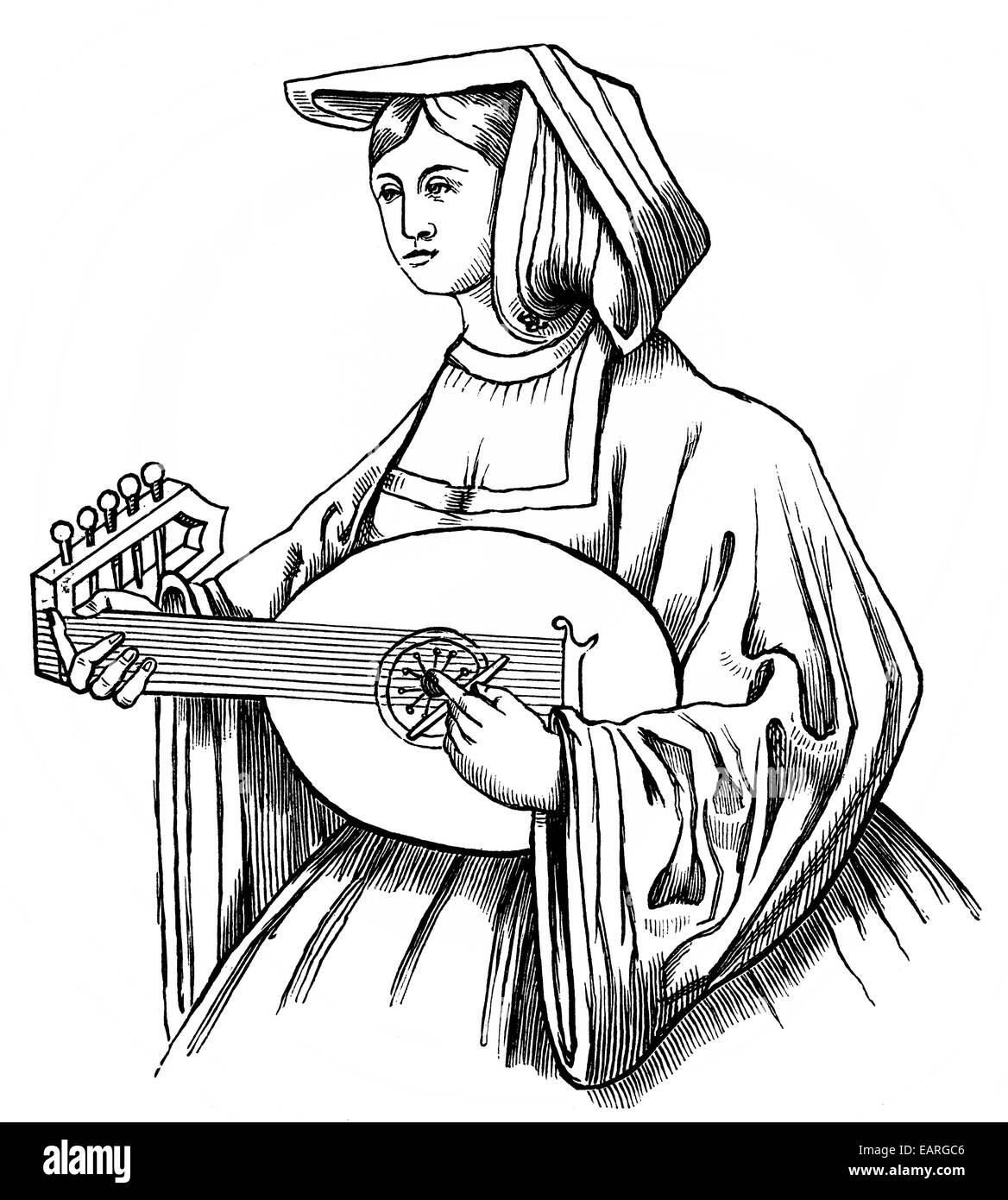 Lautenspieler mit einem Plektrum, 16. Jahrhundert, Lautenspielerin Mit Einem Plektrum Oder Plektrum, 16. Halbmonatsschrift Stockbild