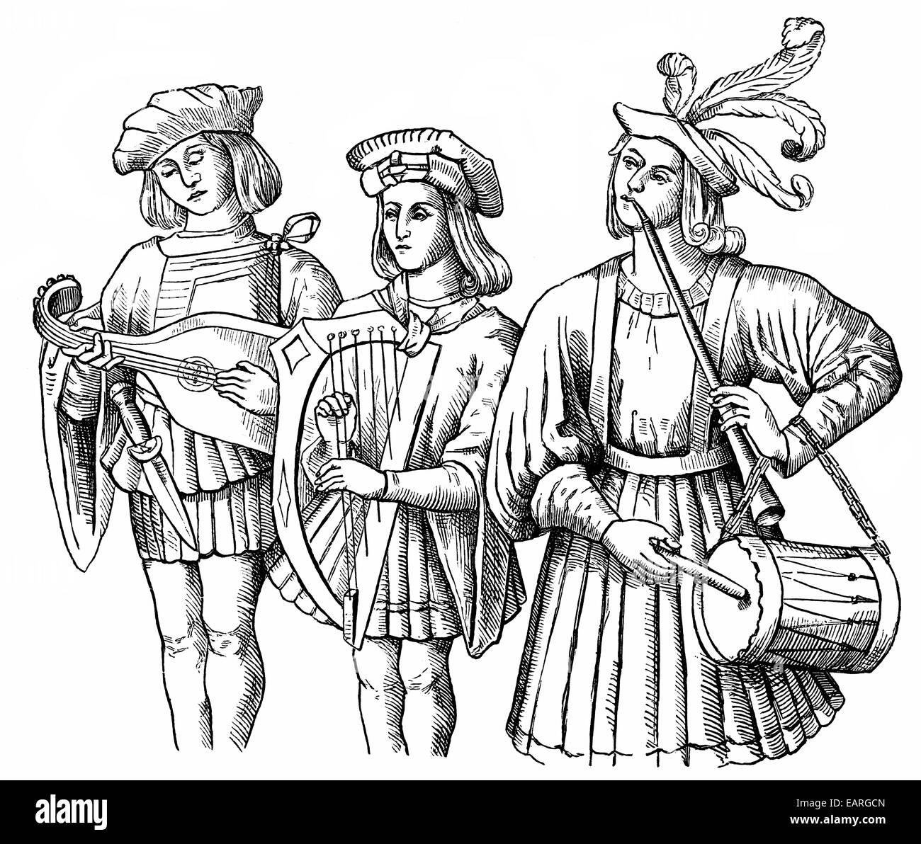 Musiker spielen eine laute und eine Harfe, Schlagzeuger spielen eine Pfeife, 15. Jahrhundert, Musikanten Mit Einer Stockbild