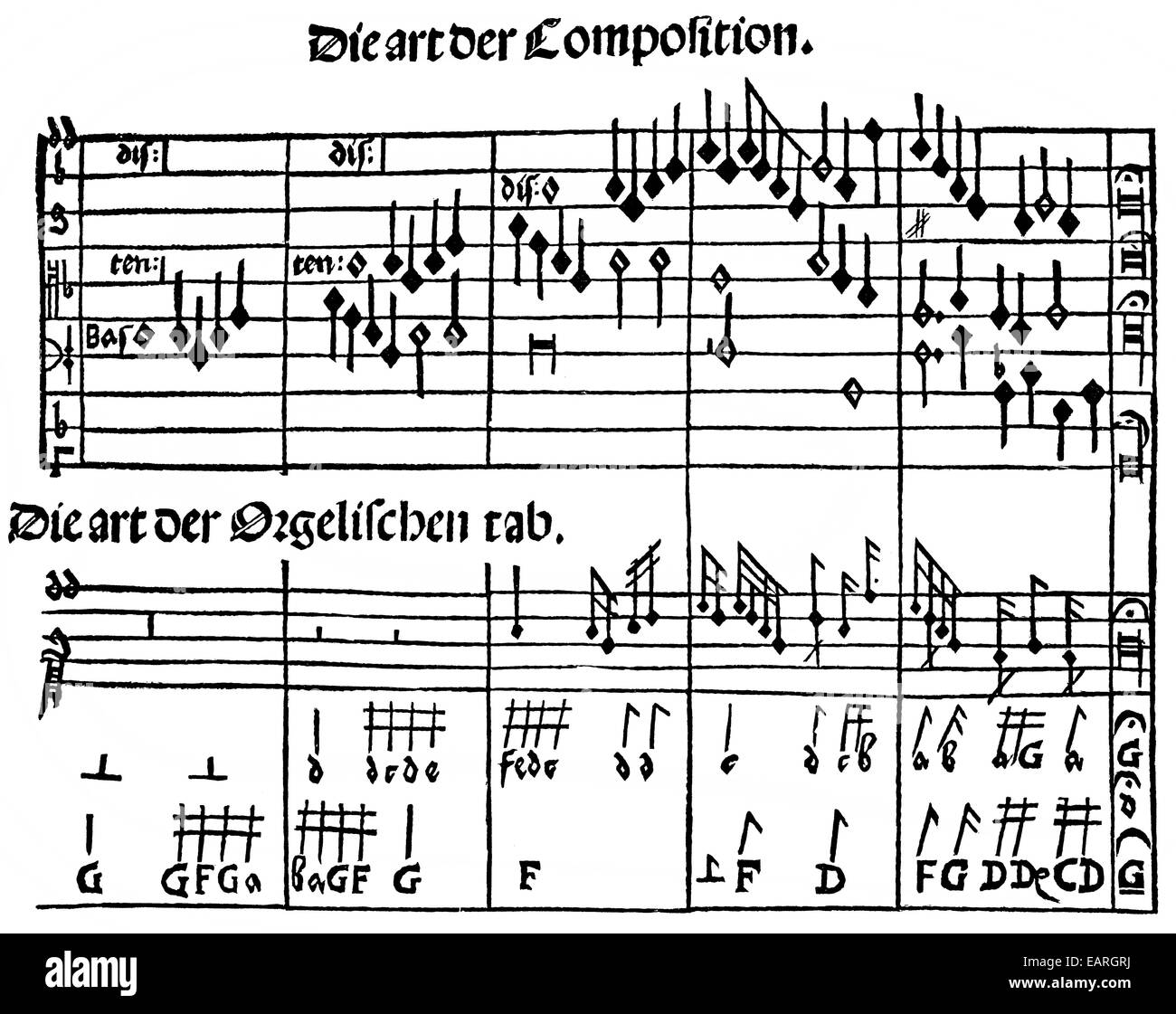musikalische Komposition, Partitur, laute Tabulatur, 16. Jahrhundert, Tonsatz in Partitur Und Nach der Lautentabulatur, Stockbild