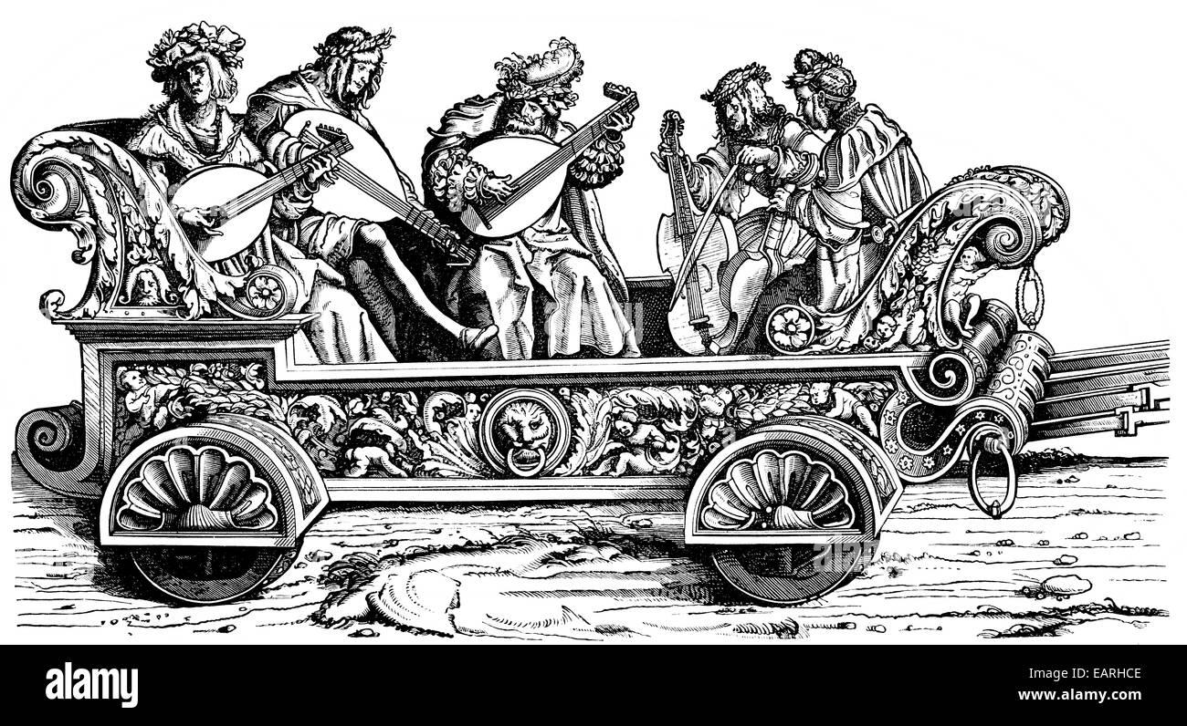 Hans Burgkmeir, Musica, lauten und Rybeben Geigen, 1522, Bestandteil der Triumphzug des Kaisers Maximilian I., 1459 Stockbild