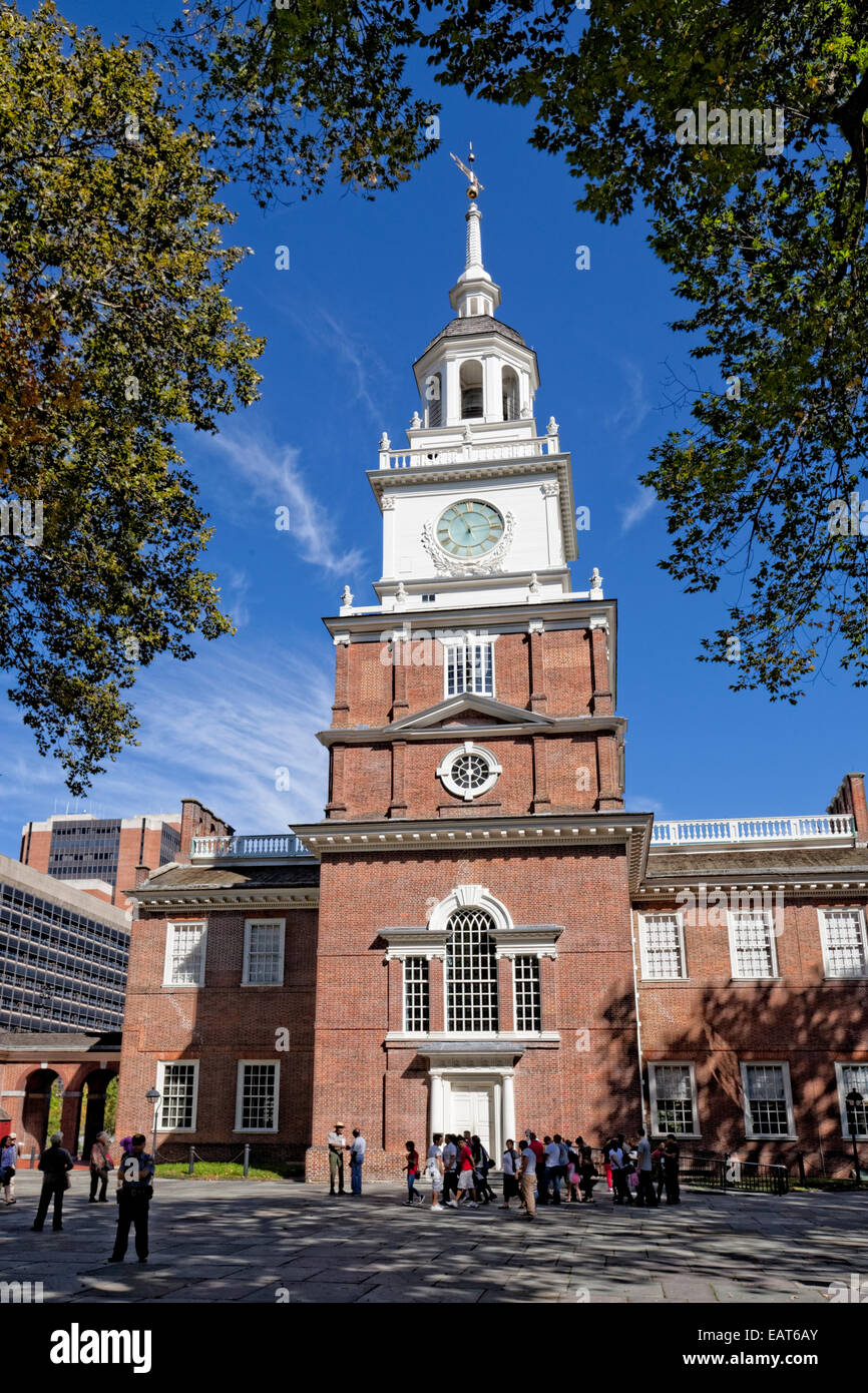 Independence Hall ist das Herzstück des Independence National Historical Park in Philadelphia, Pennsylvania. Stockbild
