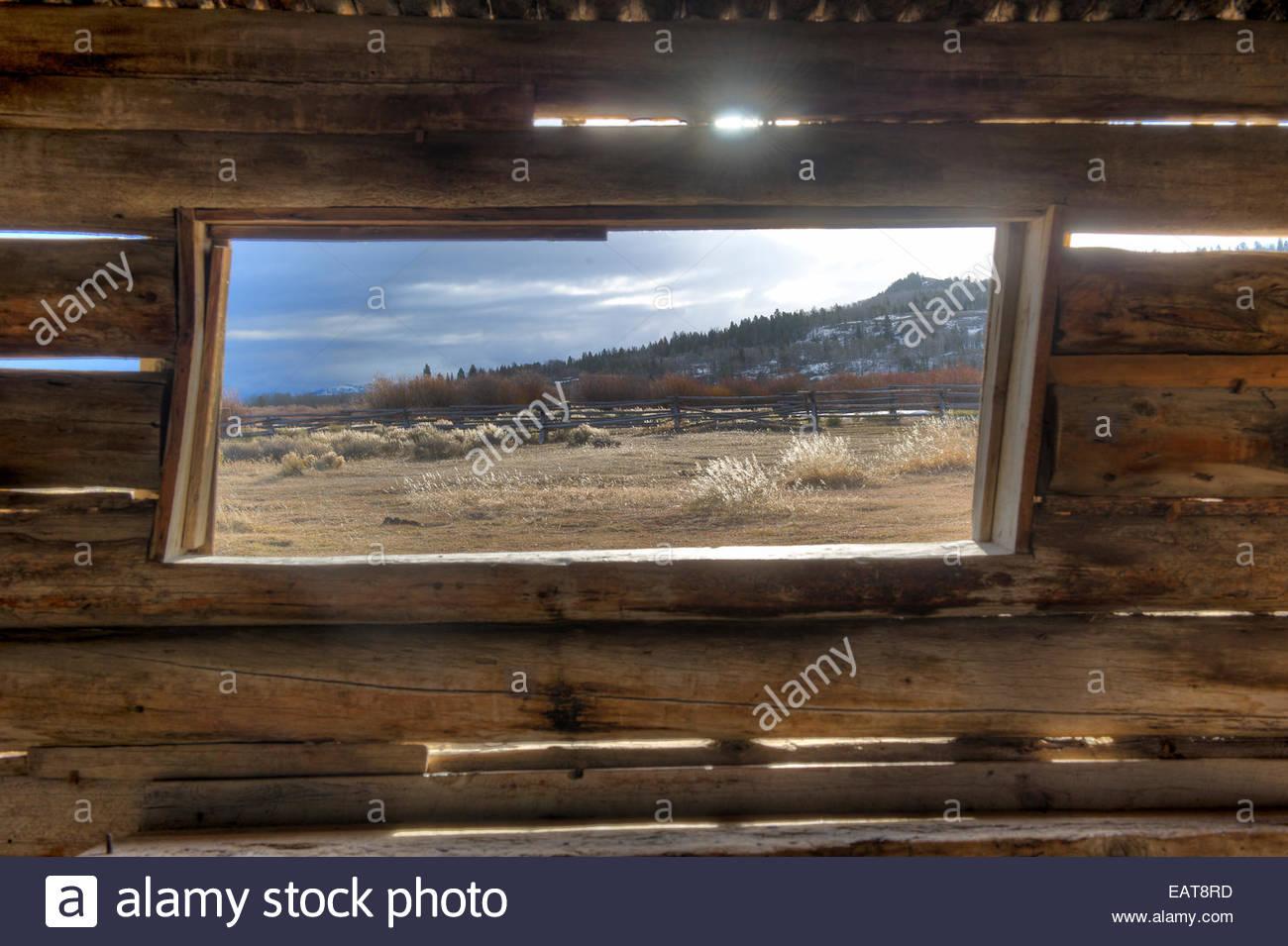 Das Fenster der Cunningham Kabine Homestead und historische Stätte. Stockbild