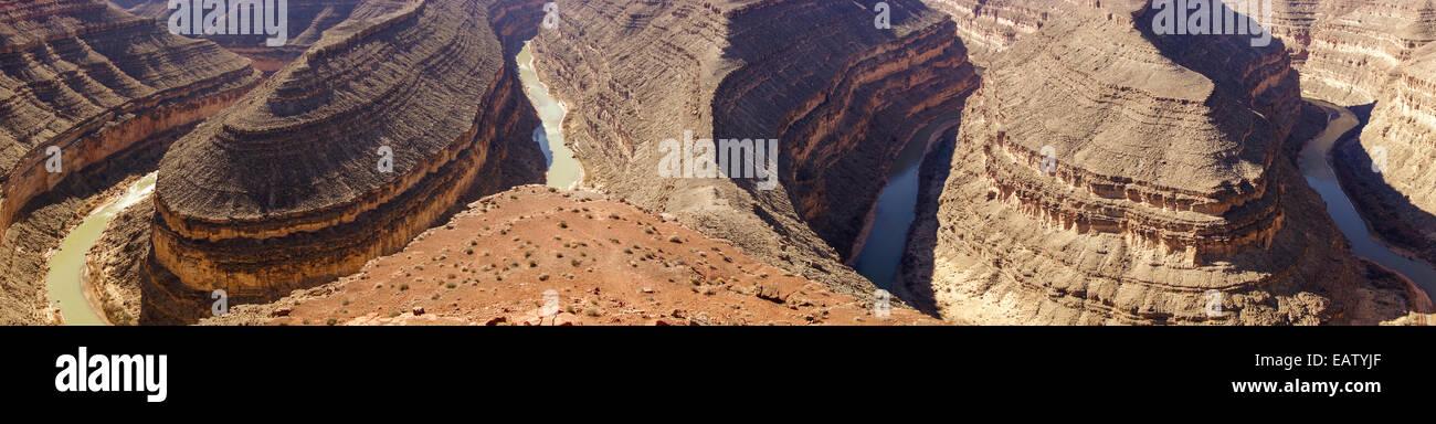 Panorama des San Juan Rivers im Goosenecks State Park in der Nähe von mexikanischen Hut New Mexico, Südwesten Stockbild