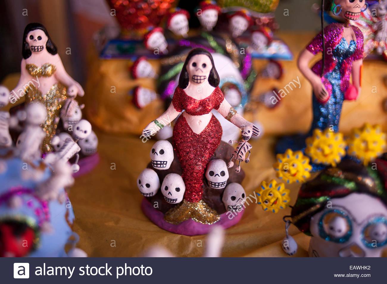 Bilder von Schädeln und Skeletten feiern Tag Mexikos der Toten. Stockbild