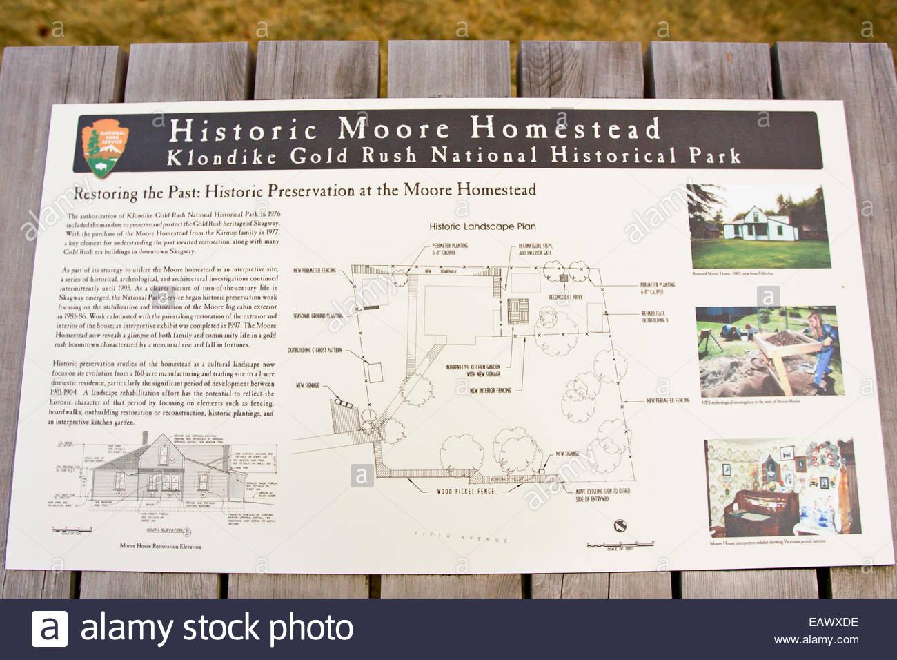Zeichen und Karte der historischen Moore Gehöft im Klondike Gold Rush National Park. Stockbild
