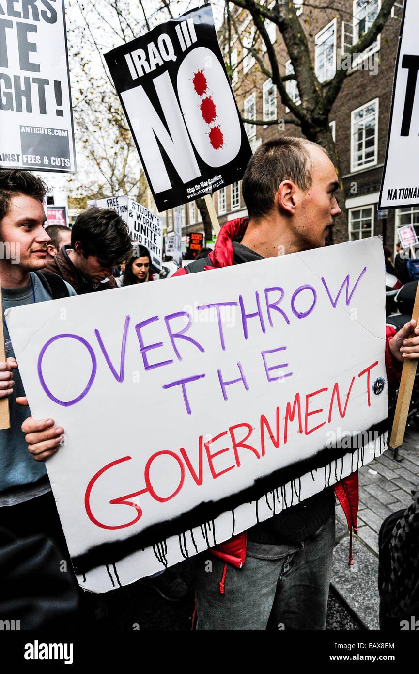 Ein Student Demonstration gegen Bildungs- Gebühren. Stockbild