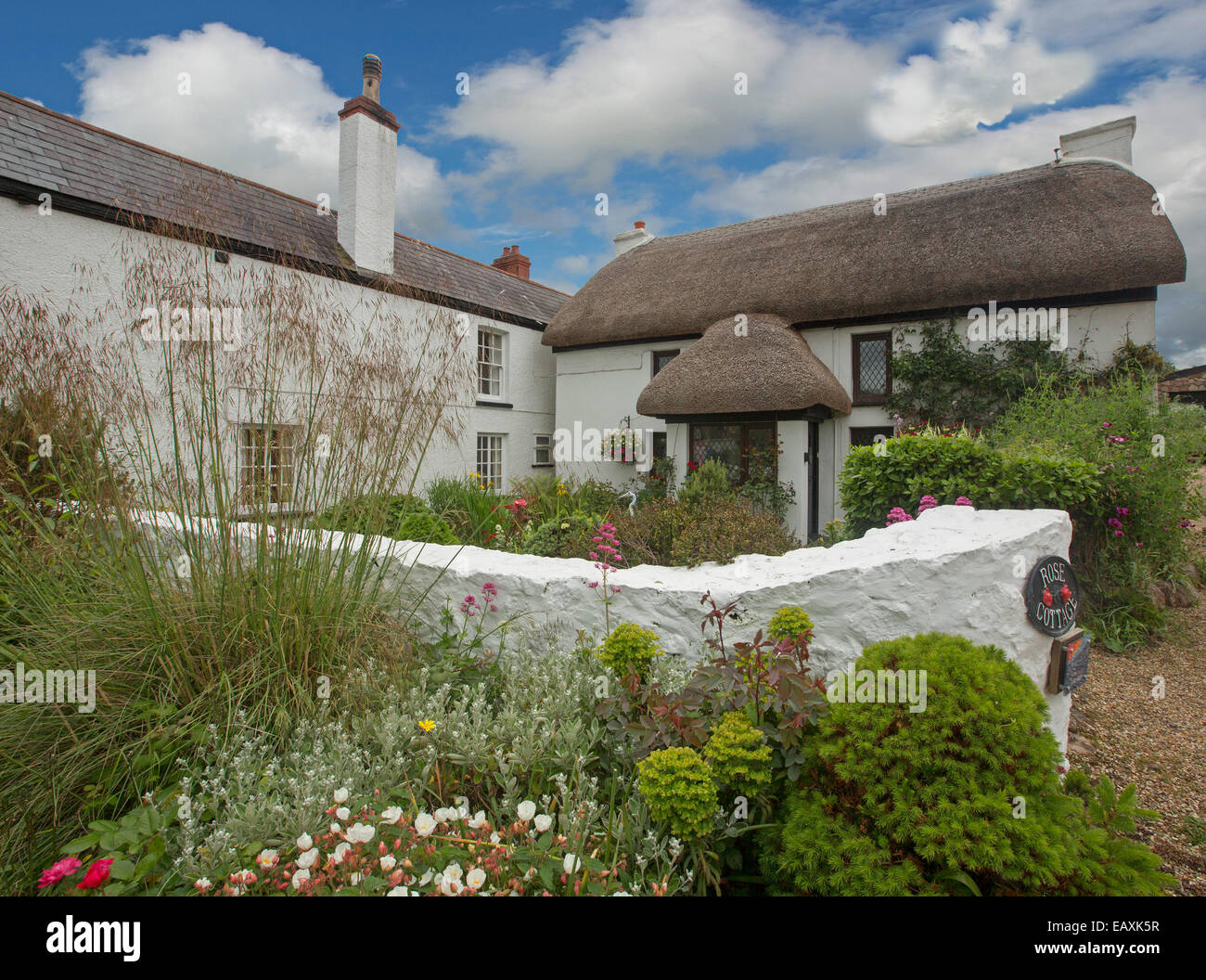 White Painted Thatched Roof Cottage Stockfotos & White Painted ...