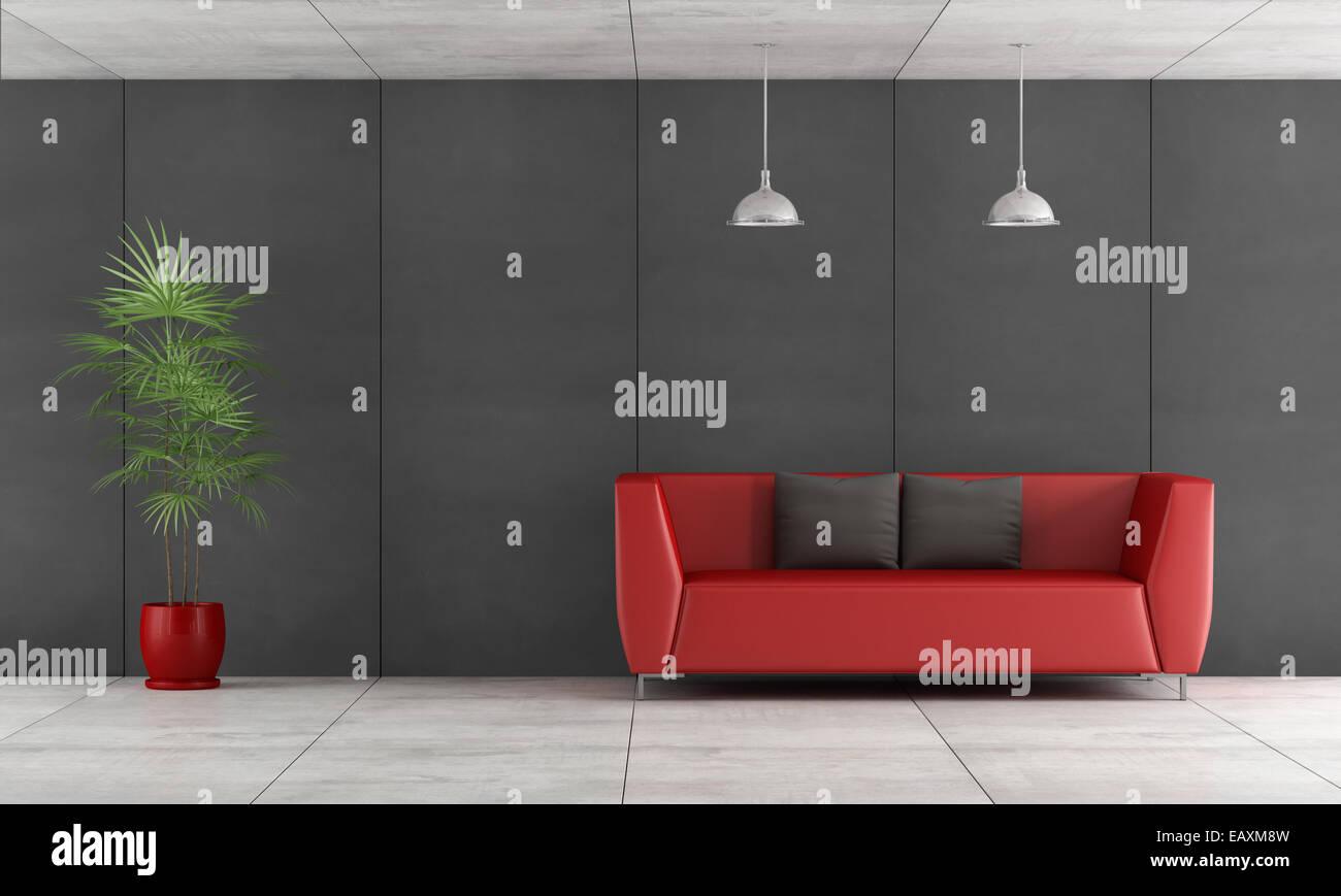 Zeitgenössische Wohnzimmer Mit Tafel Wandverkleidung Und Rote Couch   3d  Rendering Stockbild