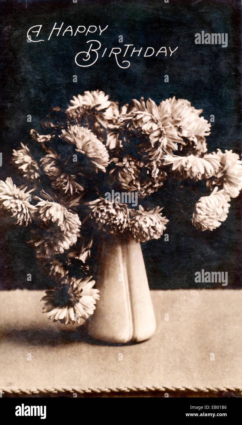 Vintage Geburtstag Postkarte Von 1906 Zeigt Eine Vase Mit Blumen