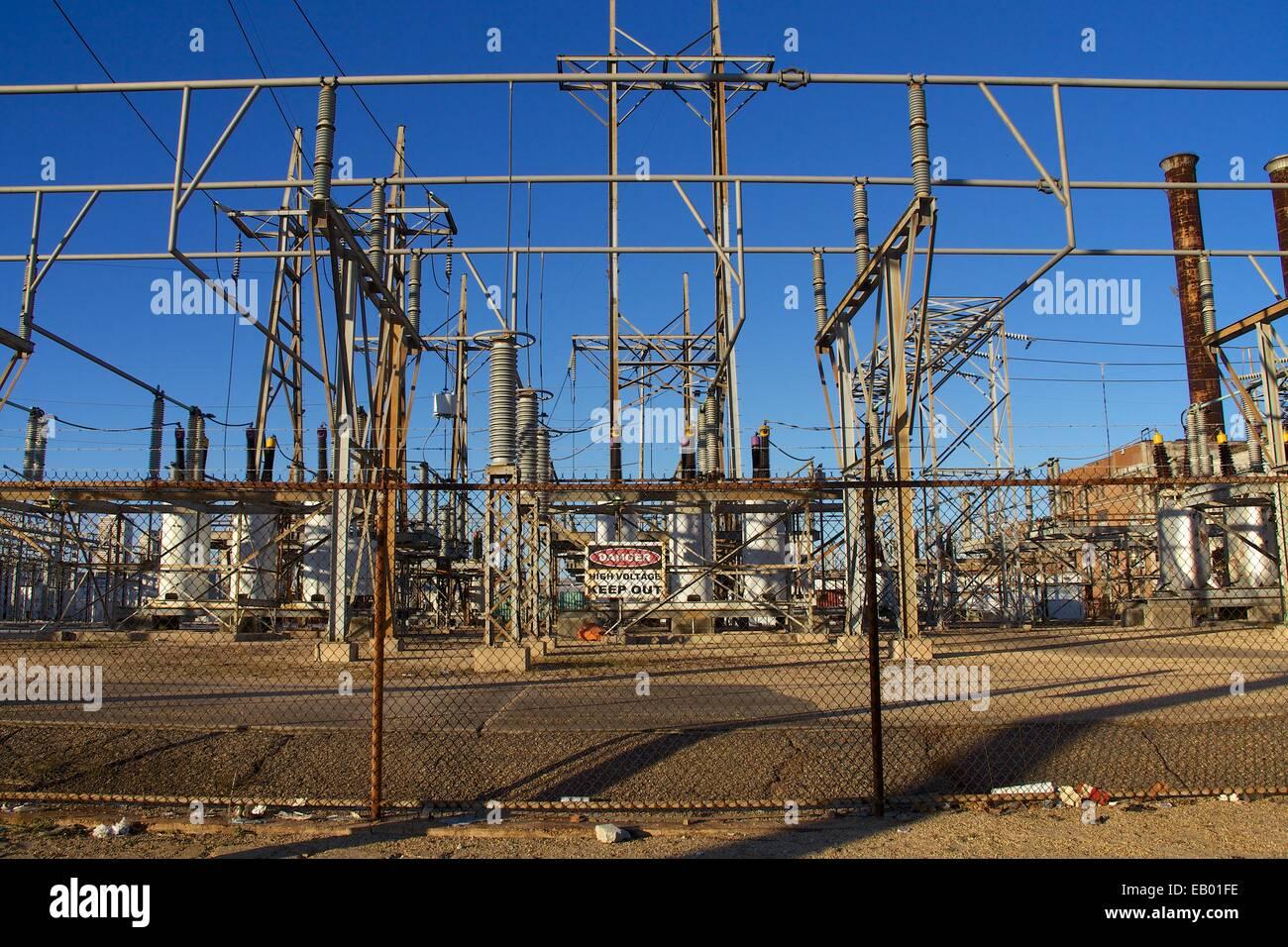 Power-Infrastruktur, Speicherstadt, New Orleans, Louisiana, USA Stockbild