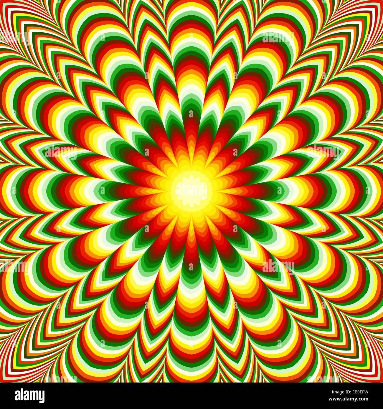 Bunte Blumen Fraktal Mandala Mit Dem Effekt Der Optischen Tauschung