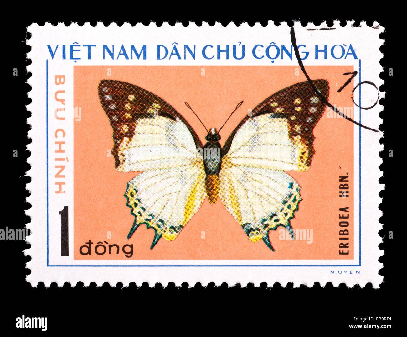 Briefmarke Aus Vietnam Die Darstellung Einer Eriboea Arten Schmetterling Stockbild