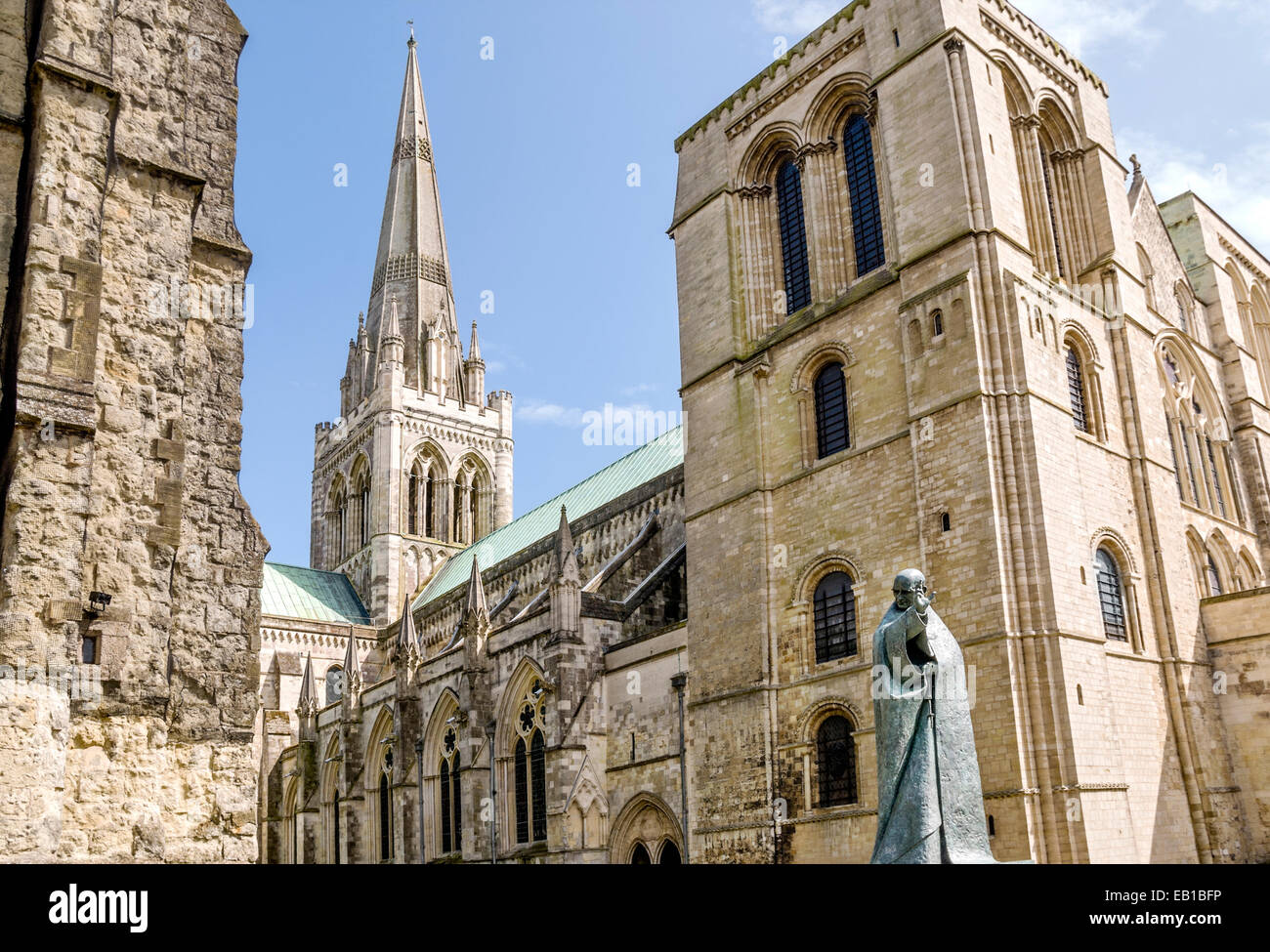 Chichester Cathedral in der Grafschaft West Sussex, England. Stockbild