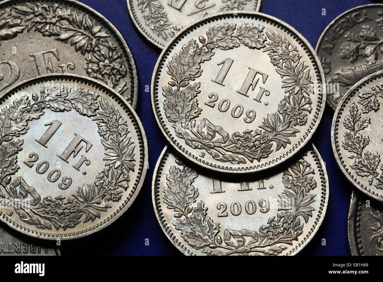Schweizer Franken Münzen Währung Schweizer Geld Stockfotos