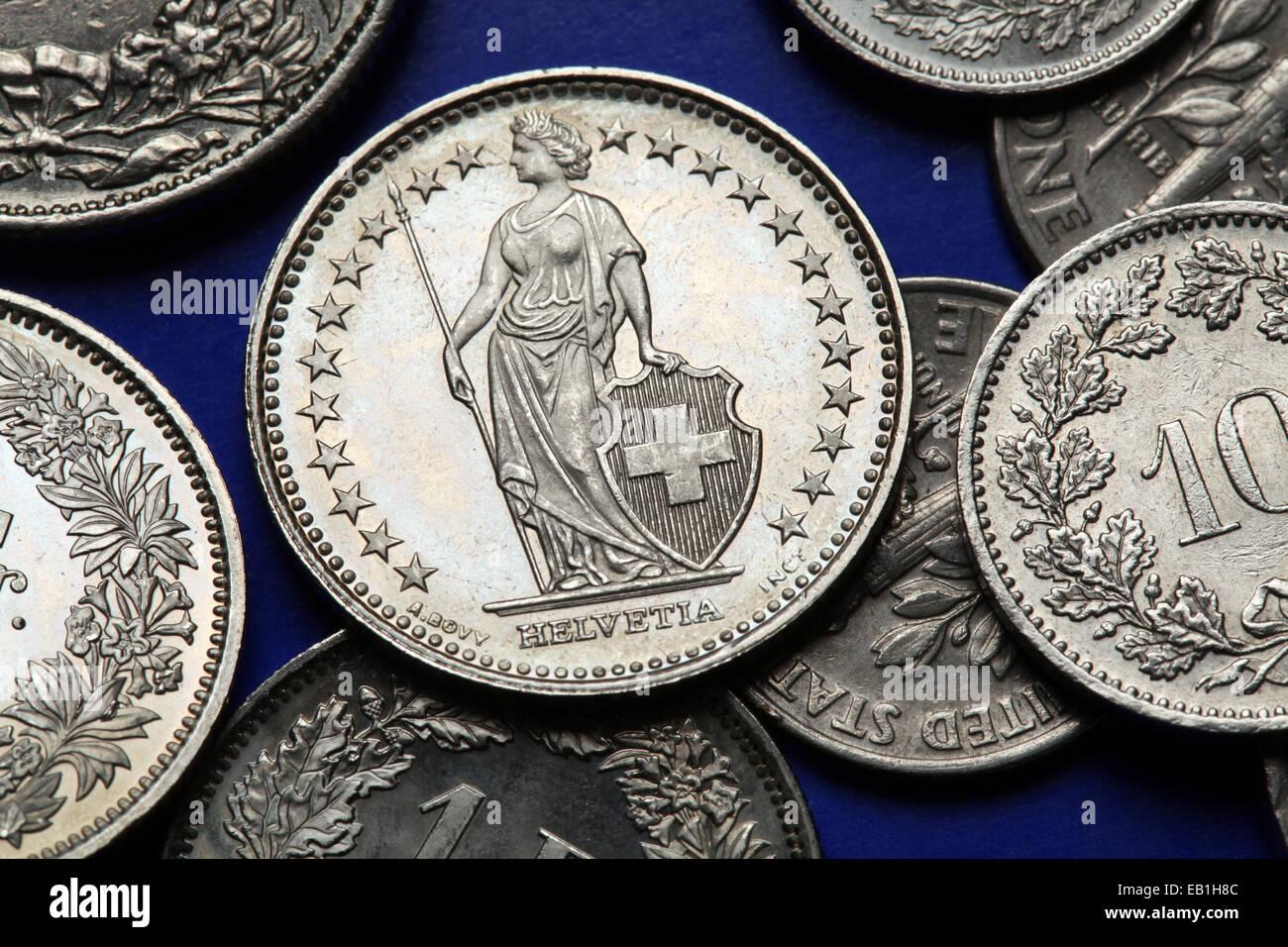 Münze Münzen Währung Geld Helvetia Stockfotos Münze Münzen Währung