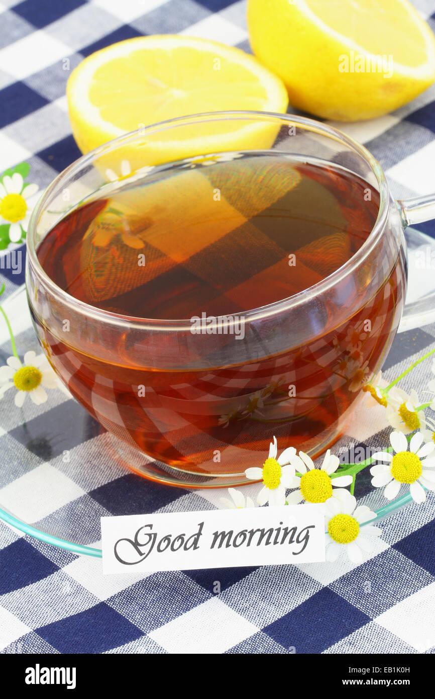 Guten Morgen Karte Mit Tasse Tee Und Kamille Blumen